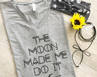 Women' T-Shirt, Women's Graphic Tee, Women's Top, Moon Apparel, Space, Women's Grey Top, Flowy Top, Cute Shirt, Camp Shirt, Boho, Vneck Tee