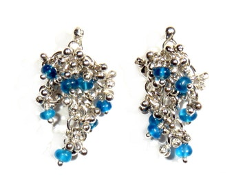 Earrings with Apatite Cluster
