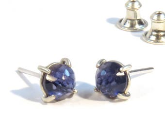 Rose Cut Iolite Earrings