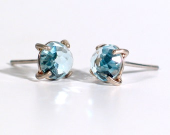 Rose Cut Sky Blue Topaz Earrings