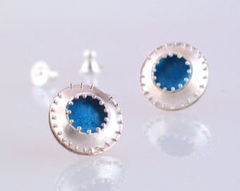 Blue Granulation Earrings