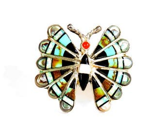 Vintage Zuni Butterfly Brooch and Pendant