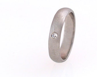 Palladium Low Dome Band with Diamond, Size 3-6.75