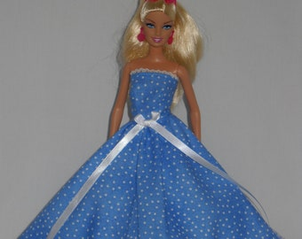 Barbie Doll Dress Handmade  Blue with White Dots Strapless Gown