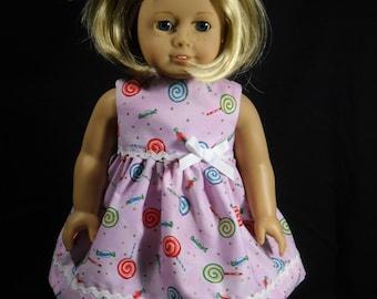 American Girl 18 inch Doll Dress Handmade Light Purple with Lolipops