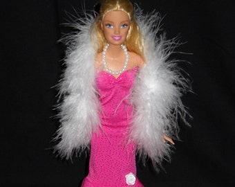 3 Piece Outfit Barbie Doll Dress Handmade Glittery Pink Sheath Dress with Boa and Necklace