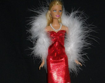 3 Piece Outfit Barbie Doll Dress Handmade Red Sheath Dress with Boa and Necklace
