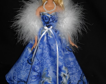 3 Piece Outfit Blue Floral Sweetheart Gown Barbie Doll Dress Handmade with Boa and Necklace