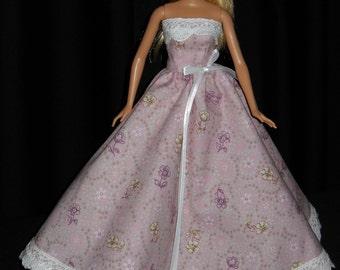 Barbie Doll Dress Handmade Pink Strapless Gown