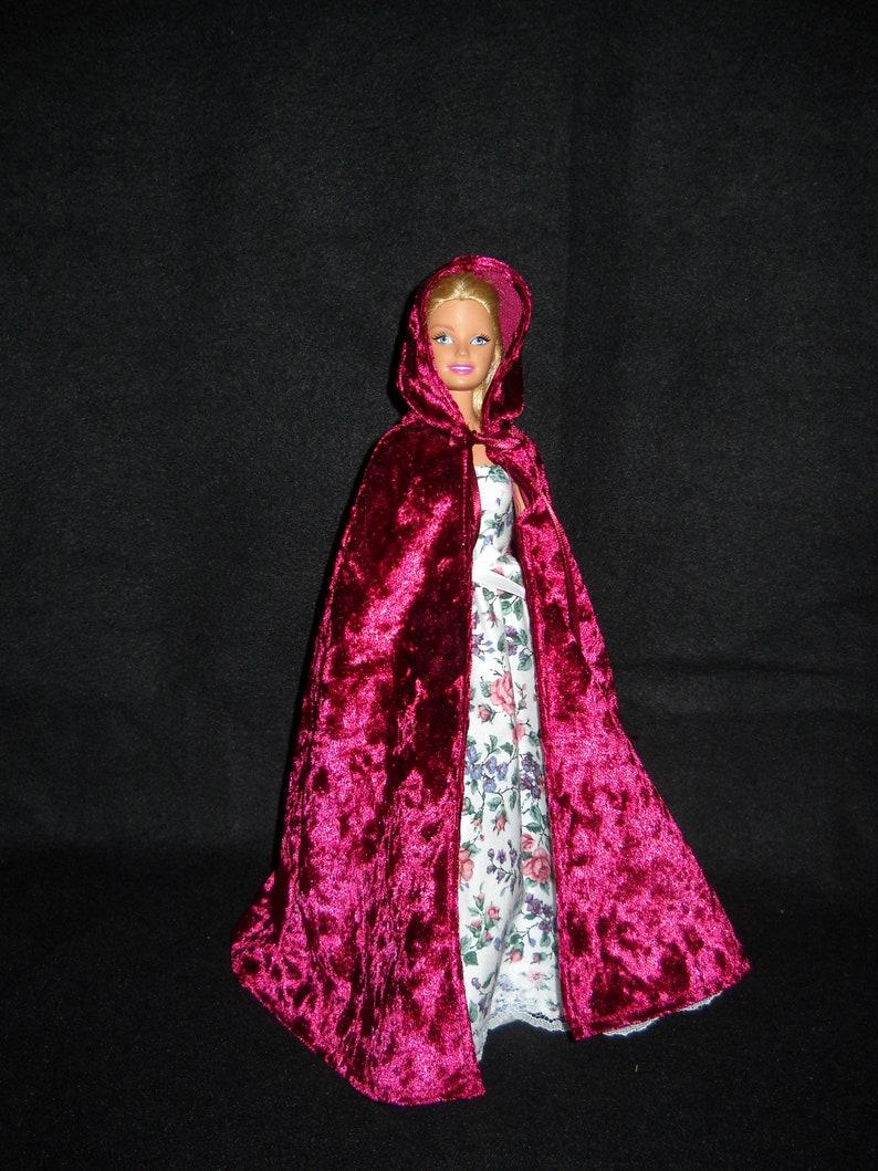 Handmade Red Velvet Panne Hooded Cape FOR Dolls