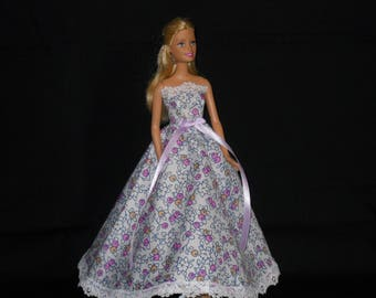 Barbie Doll Dress Handmade Purple Floral with Lace Strapless Gown