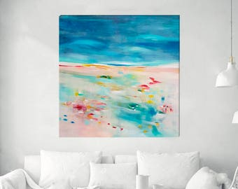 Blue abstract landscape, large original abstract acrylic painting, large canvas art, colorful modern wall art