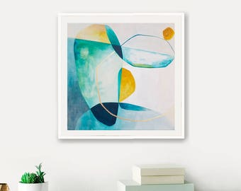 Geometric art, Abstract painting, canvas painting, blue, gold, wall decor, wall art, home decor, abstract acrylic, modern art, 20 x 20