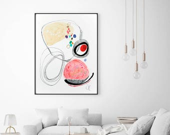 Minimalist lines watercolor painting print, abstract watercolor minimalist painting, modern living wall art, housewarming gift