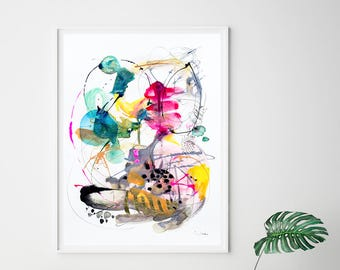 Abstract watercolor print, modern decor art, gray and pink watercolor painting, dorm wall art