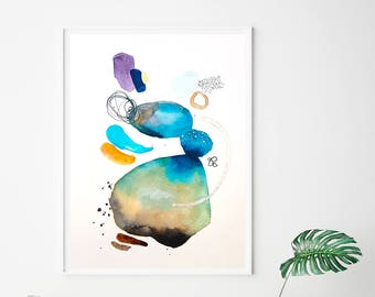 Blue minimal Giclee print, abstract watercolor painting print, modern abstract wall art, VictoriAtelier