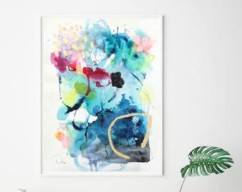 Watercolor print, blue painting art, painting print, abstract wall art giclee print, VictoriAtelier