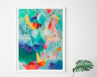 Acrylic abstract giclee print, green, purple, bright colorful modern wall art print, living room decor, green painting