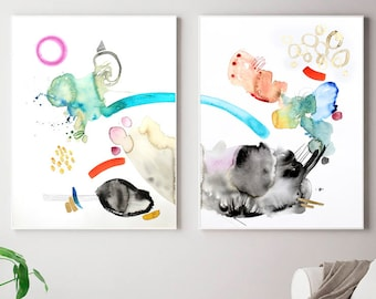Colorful modern extra large art, Set of two original painting, large watercolor art, large abstract art