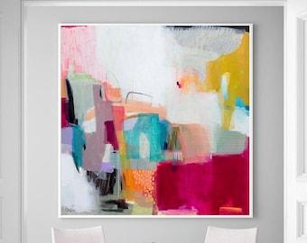 Large wall art giclee print, white pink geometric abstract painting, large abstract painting print, giclee wall art