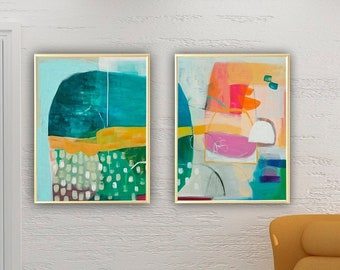 Abstract prints set, Set of 2  large prints, Set of two paintings,Large wall art, Abstract painting, Set of 2 abstract art, colorful art