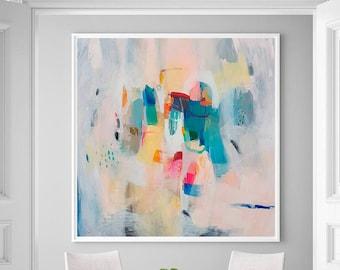 Soft pastel wall art, abstract painting giclee print, large fine art print, modern abstract art, acrylic art print, VictoriAtelier