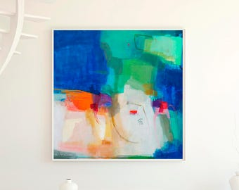 Abstract wall art giclee print, blue and green abstract painting print, large abstract giclee print, contemporary abstract giclee print