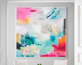 Large Abstract Painting,Colorful Painting,Beige Abstract Painting,Pink Painting,Canvas Wall Art,Modern Texture Painting,Original Artwork