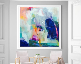 Abstract print, large modern wall art, abstract painting print, blue wall decor, living room wall art, VictoriAtelier