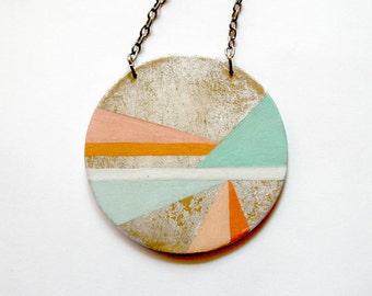 Long Necklace, long pendant necklace , boho pendant, boho necklace, coral, turquoise , geometric, gift for her, women gift