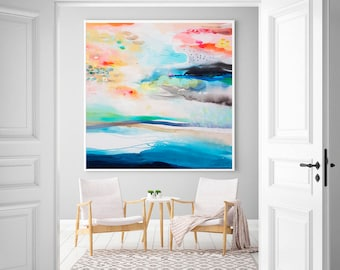 Amazing Abstract Landscape Print, Prints Wall Art, Canvas Art Giclee Print, Large  Painting,