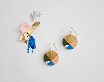 Dangle earrings, gold earrings, sterling silver, coral, blue, geometric earrings, boho earrings, hand painted, gift for her, women gift