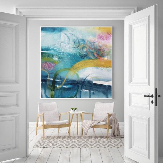 Große moderne abstrakte Kunst, blau und gelb für Wohnzimmer, große  Wandkunst Malerei Malerei