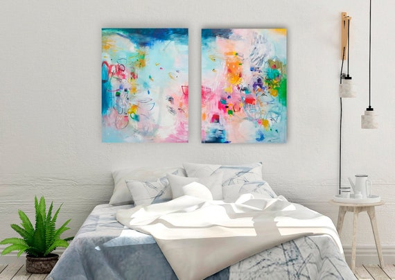 Wall art set of 2 prints, teal blue abstract art, Bedroom prints set,  Modern colorful set of paintings, living room wall art