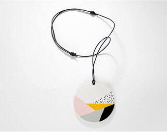 Necklace,modern, geometric necklace, adjustable pendant, boho necklace, leather cord, hand painted pendant, gift for her, women gift