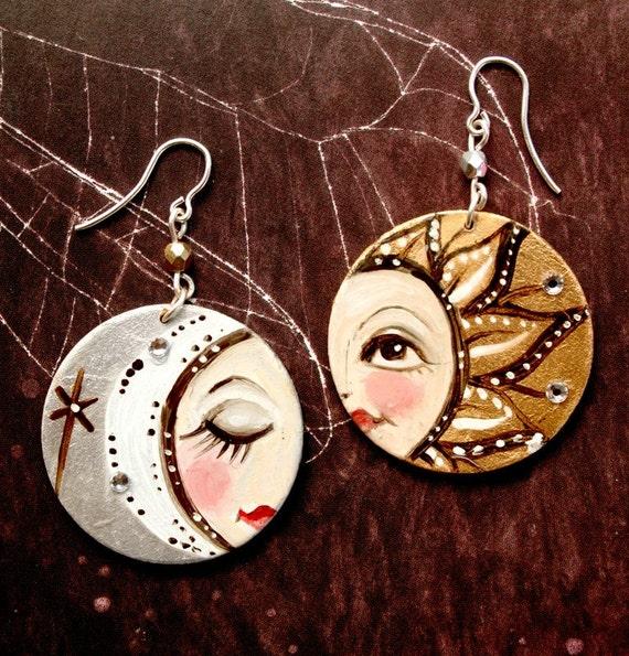 Sol Y Luna Hand Painted Earrings Sterling Silver Etsy