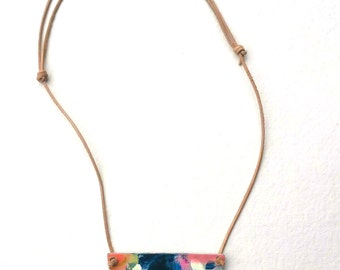 Necklace, Pendant necklace -  Adjustable pendant, boho necklace, leather cord - Hand painted pendant - Multicolor pendant