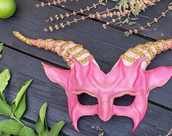 Leather Goat Mask Pink and Gold with Glitter and Rhinestones Crystals on horns & eyes entirely handcrafted Halloween masquerade art costume