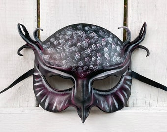 Leather Owl Mask in Purple with Black and White entirely handcrafted Art costume Halloween masks very lightweight easy to wear