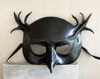 Black Leather Owl Mask Entirely Hand Crafted very lightweight and easy to wear masquerade bird costume Halloween gothic witchy art