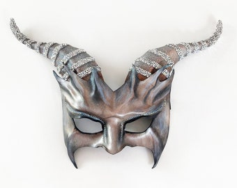 Leather Goat Mask Silver Grey with Glitter and Rhinestones Crystals on horns & eyes entirely handcrafted Halloween masquerade art costume