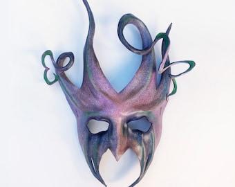 "Devil Jester Joker Leather Mask 14"" tall  Entirely Handcrafted masquerade costume art Mardi Gras Halloween adult men women"