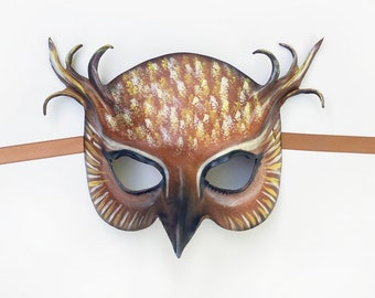 Leather Owl Mask Entirely Handcrafted very lightweight and easy to wear Halloween masquerade animal bird masks costume art