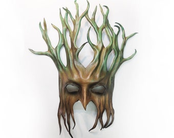 """Tree Leather Mask  greenman forest greenman greenwoman 17"""" tall very lightweight entirely handcrafted"""