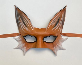 Entirely Handcrafted Leather Fox Mask very lightweight easy to wear  or display Halloween masks costume art masquerade