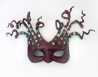 Leather Mask OCTOPUS or MEDUSA Entirely Handcrafted light and easy to wear men women masks masquerade Halloween costume