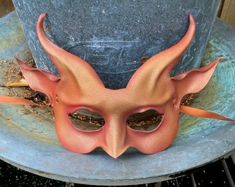 Orange & Pink Glitter Leather Goat Mask costume Halloween masquerade masks Entirely Hand Crafted very lightweight glittery sparkle