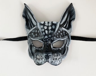 Black & White Cat Leather Mask very lightweight masquerade masks art costume Halloween adult size