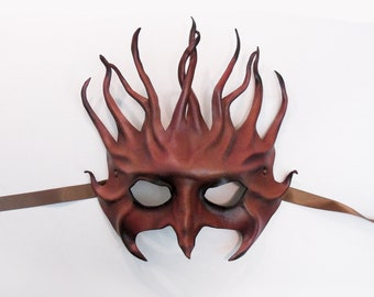 Leather Mask in Reddish Brown with Black a little dark yet elegant tendrils pagan gothic flames black tie lightweight entirely handcrafted