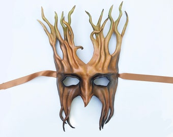 """Leather Tree Mask forest greenman greenwoman 12 1/2"""" tall very lightweight entirely hand crafted  costume masquerade Halloween masks"""